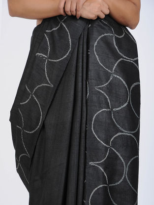 Black-Ivory Shibori-dyed Tussar Silk Saree
