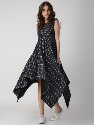 Black Handwoven Ikat Cotton Dress with Asymmetrical Hem