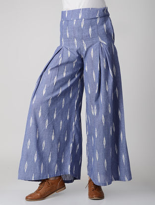 Blue Pleated Handwoven Ikat Cotton Palazzos