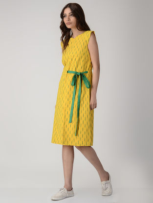 Yellow Handwoven Ikat Cotton Dress