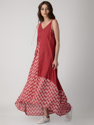 Red Handwoven Ikat Cotton Tie-up Dress with Asymmetrical Hem