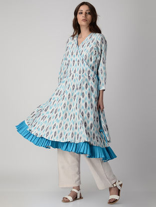 Blue-White Handwoven Ikat Cotton Angrakha Kurta with Slip (Set of 2)