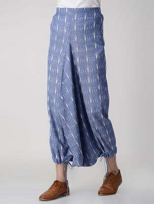 Blue Tie-up Waist Handwoven Ikat Cotton Harem Pants