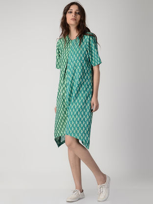 Green Handwoven Ikat Cotton Dress