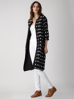 Black Button Down Handwoven Ikat Cotton Kurta/Jacket