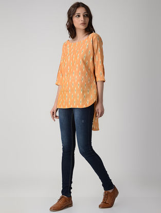 Orange Handwoven Ikat Cotton Top with Asymmetrical Hem