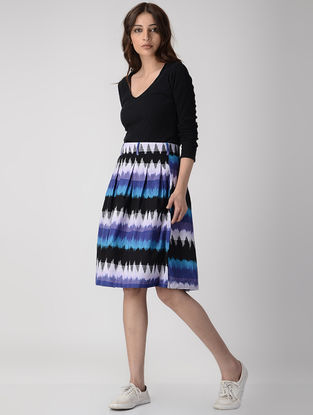 Blue-White Pleated Handwoven Ikat Button-up Cotton Skirt