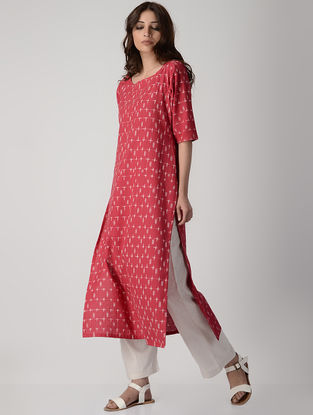 Red Handwoven Ikat Cotton Kurta
