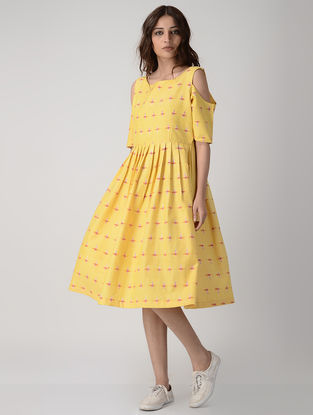 Yellow Pleated Handwoven Ikat Cotton Dress
