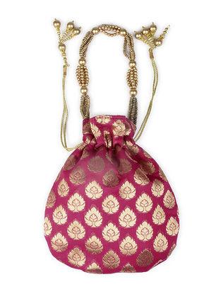 Pink Brocade Drawstring Potli