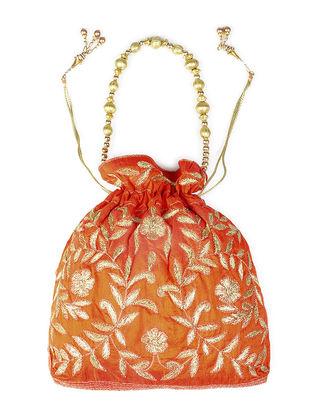 Orange Embroidered Raw Silk Drawstring Potli