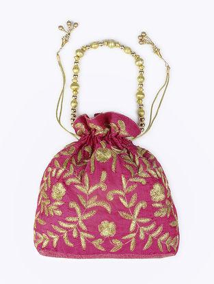 Pink Embroidered Raw Silk Drawstring Potli