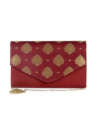 Maroon Hand-Crafted Brocade Silk Clutch