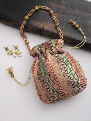 Multicolor Brocade Silk Drawstring Potli