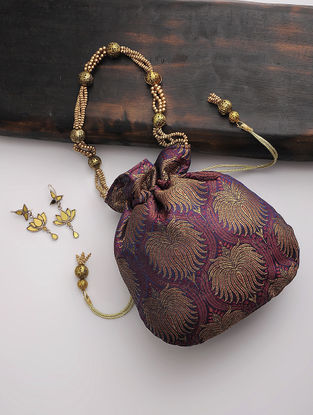 Purple-Golden Brocade Silk Drawstring Potli
