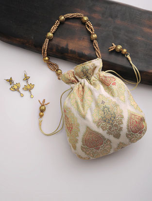 White-Multicolor Brocade Silk Drawstring Potli