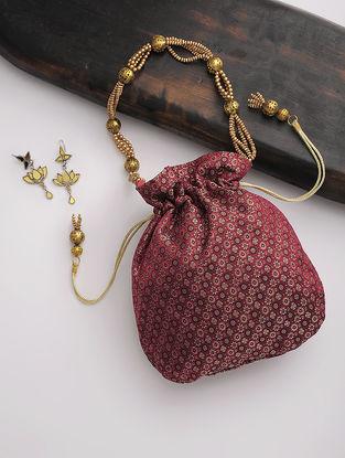 Maroon-Golden Tanchoi Silk Drawstring Polti