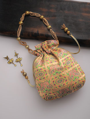 Yellow-Golden-Multicolor Silk Drawstring Potli