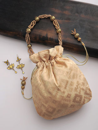 Cream-Golden Brocade Silk Drawstring Potli