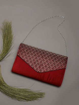 Maroon Handcrafted Brocade Silk Clutch