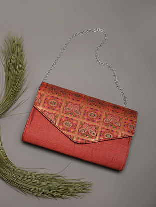Brown Handcrafted Brocade Silk Clutch