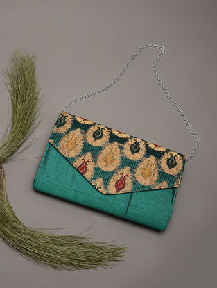 Green Handcrafted Brocade Silk Clutch
