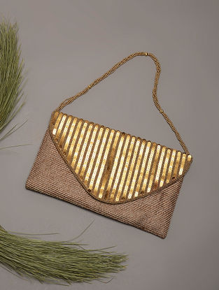 Golden Sequins Embroidered Jute and Silk Clutch