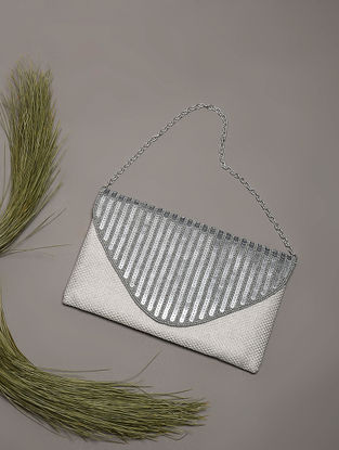 Silver Sequins Embroidered Jute and Silk Clutch