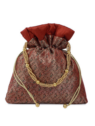 Maroon-Gold Brocade Silk Potli