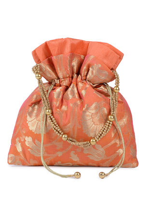 Orange-Gold Brocade Silk Potli