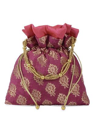 Pink-Gold Brocade Silk Potli