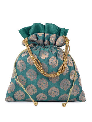 Green-Gold Brocade Silk Potli