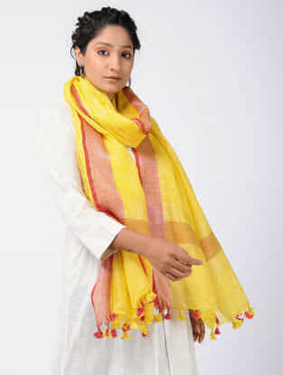 Yellow-Red Linen Stole with Zari and Tassels