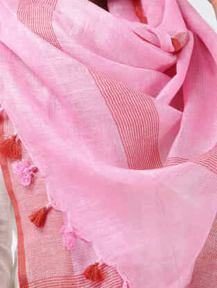 Pink-Red Linen Stole with Zari and Tassels