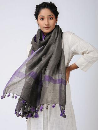 Black-Purple Linen Stole with Zari and Tassels