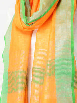 Orange-Green Linen Stole with Zari and Tassels
