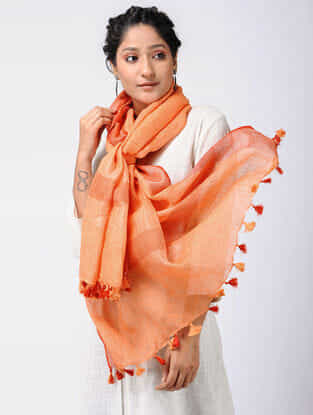 Orange-Red Linen Stole with Zari and Tassels
