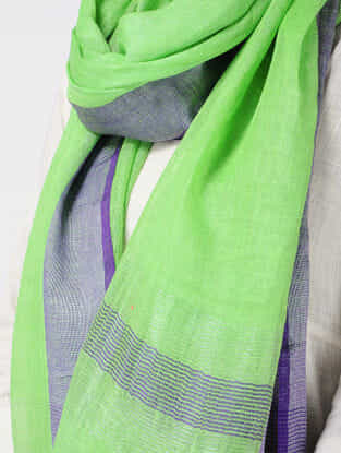 Green-Purple Linen Stole with Zari and Tassels