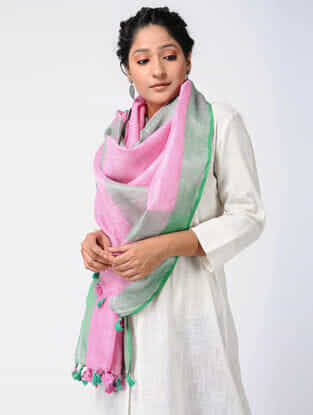 Pink-Green Linen Stole with Zari and Tassels