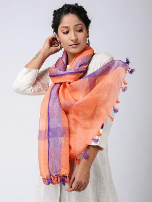 Orange-Purple Linen Stole with Zari and Tassels