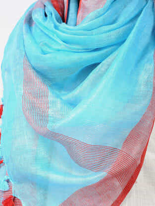 Turquoise-Red Linen Stole with Zari and Tassels