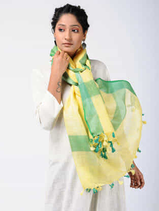 Yellow-Green Linen Stole with Zari and Tassels