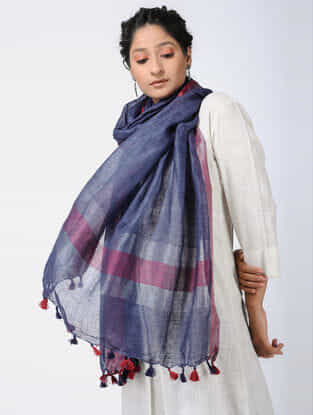 Blue-Red Linen Stole with Zari and Tassels