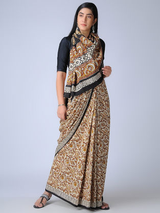 Ivory-Mustard Ajrakh-printed Cotton Saree