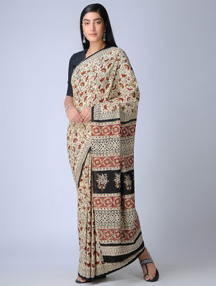 Ivory-Red Ajrakh-printed Cotton Saree