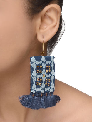 Indigo Embellished Earrings with Tassels