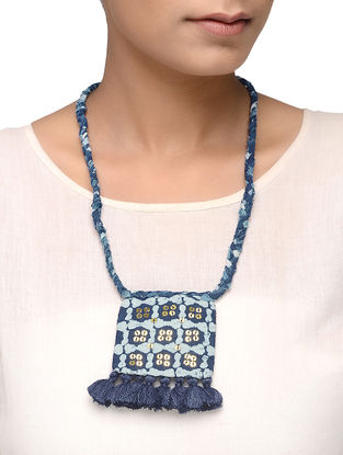 Indigo Embellished Necklace with Tassels
