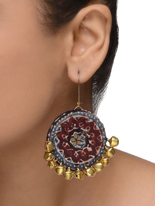 Indigo-Maroon Embellished Earrings