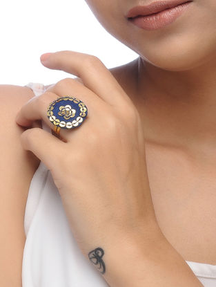 Blue Embroidered Ring with Sequins