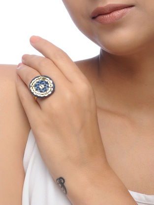 Indigo Embroidered Ring with Sequins